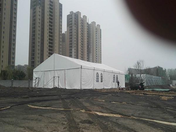 苏州客户工地用临时仓储篷房搭建完成